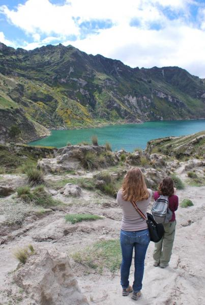 Hiking around Qiulotoa Crater Lake