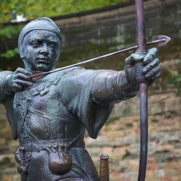 Robin Hood statue at Nottingham Castle, nr Nottingham Trent University