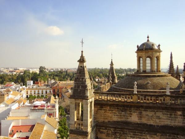 stunning skyline and blue skies over seville spain