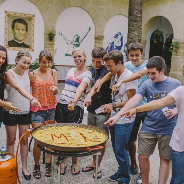 Learning how to cook some paella in Sevilla, Spain