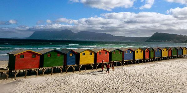 Colorful beach houses in South Africa. Photo by ISA alumna Heather OKeeffe