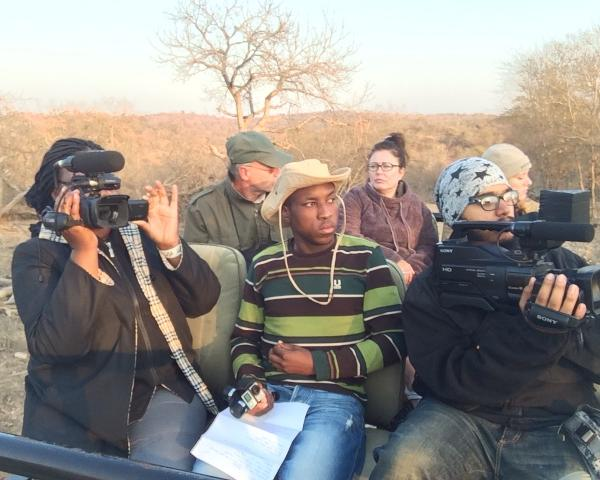 Wildlife Film School Students on camera in Kruger Park of South Africa