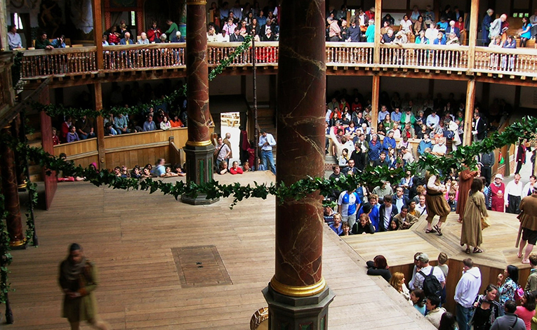 Inside the Globe Theater in London, England