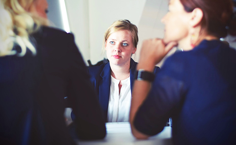 Young woman during an interview