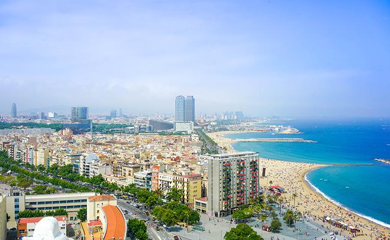 View of Barcelonas shoreline