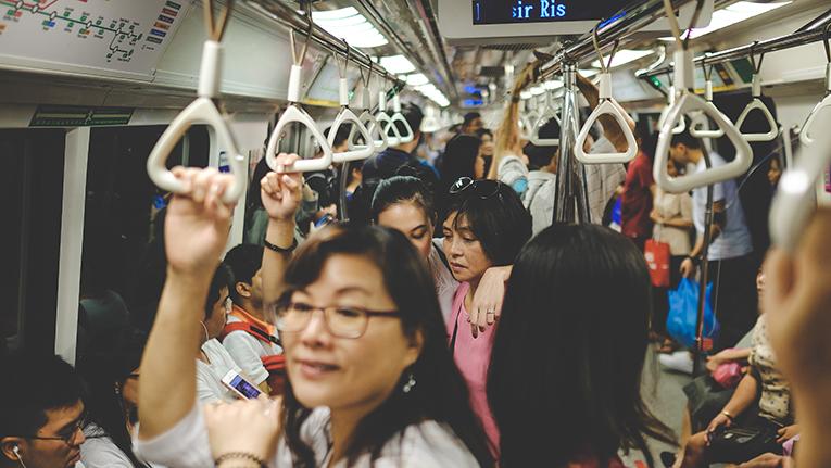 crowded metro car