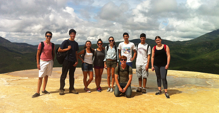 High school students at Hierve el Agua in Mexico