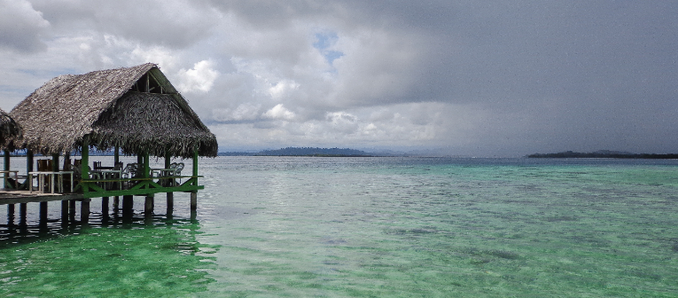 Bungalows over the ocean in Bocas del Toro, Panama