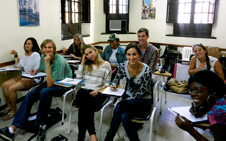 Students in a classroom abroad