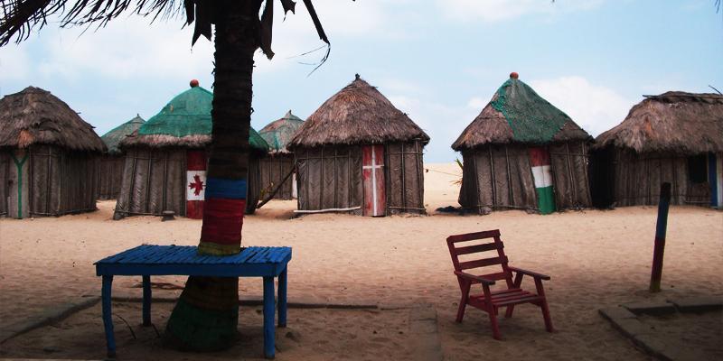 Shacks at Ada-foah Beach, near the Volta River