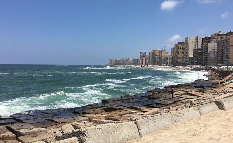Mediterranean coast in Alexandria, Egypt