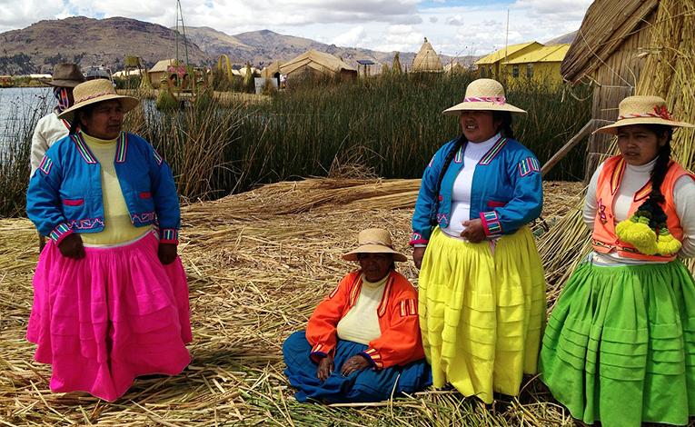 Peruvian women in their traditional dress