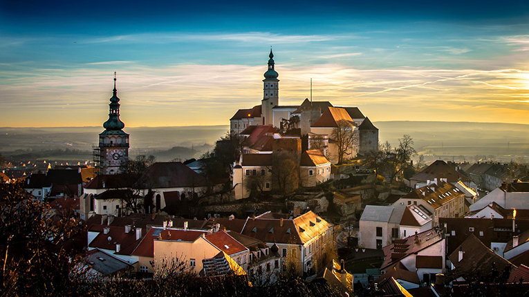 Sunrise over the old town of Prague, Czech Republic