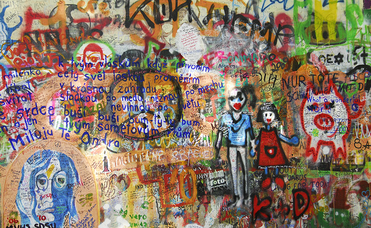 The graffiti-filled Lennon Wall