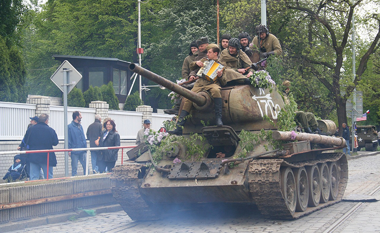 The Liberation tank driving through Prague