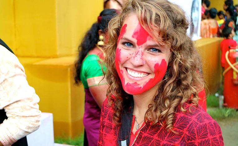 Girl enjoying the Puja Festival in India