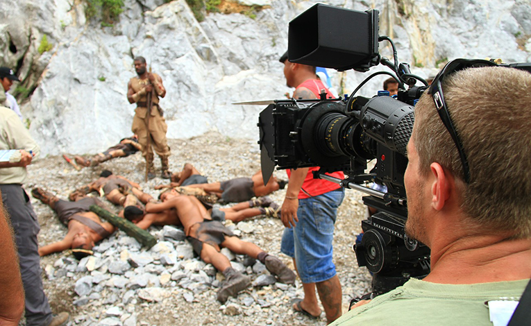 Man filming ascene