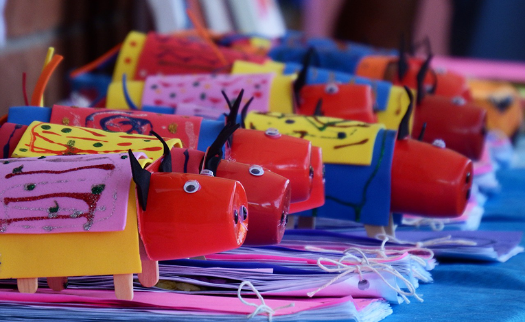 Pig arts and crafts from elementary class.