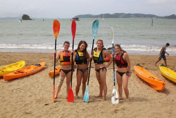 Female students kayaking