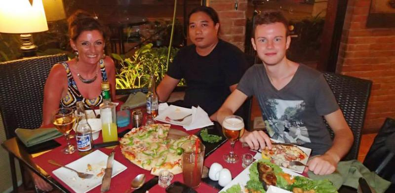 Dinner at an authentic Italian restaurant in the Philippines.