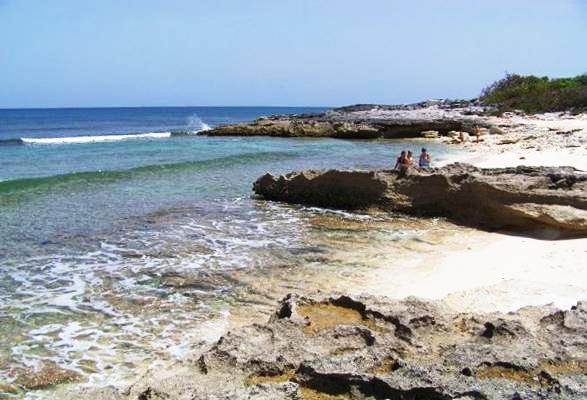 White sand beach in the Bahamas