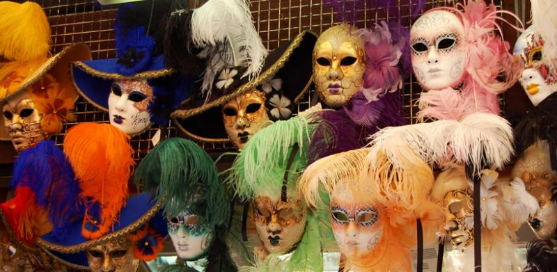 Colorful masks for the carnival.