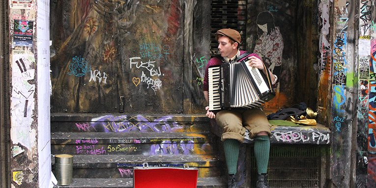 Street musician playing accordion