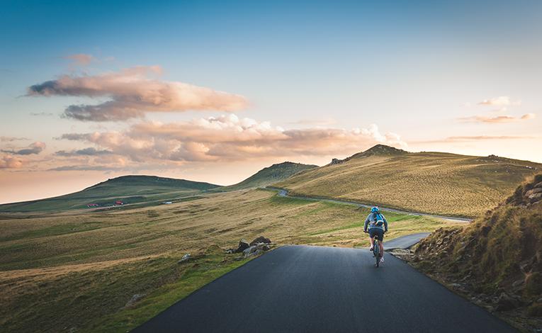biking through romanian countryside