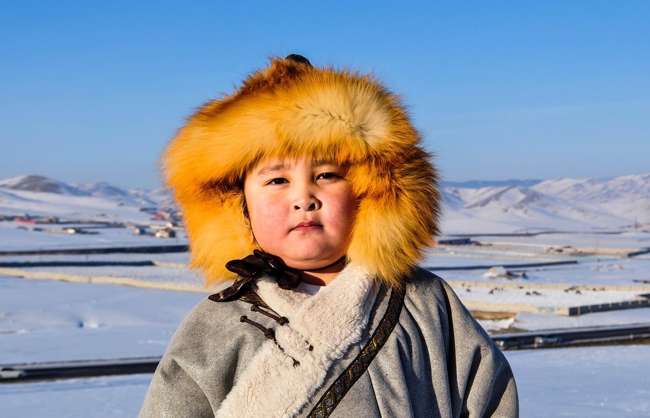 mongolian boy in the winter