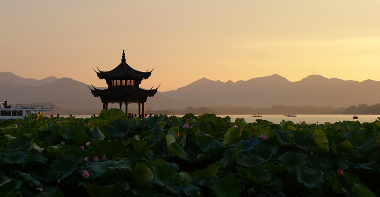 Sunset view of a temple in China