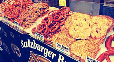Different types of pretzel sold in the streets of Salzburg