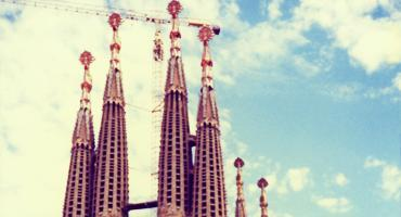 The spires of a church in Barcelona