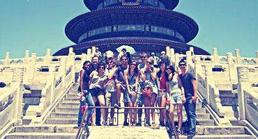 Students on the steps of Beijing's Temple of Heaven