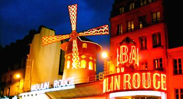 The century-old Moulin Rouge in Paris, France.