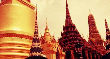 Temple spires glitter like gold in Thailand