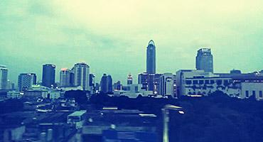 The Bangkok skyline from the window of the Sky Train