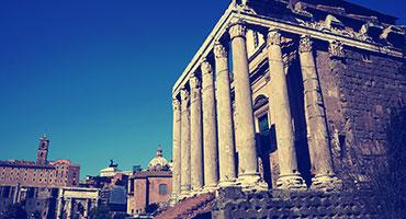 The Temple of Antoninus and Faustina, Rome, Italy.
