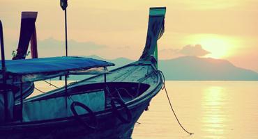 A boat in the sea.