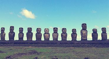 Moai in Easter Island, Chile.