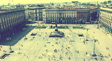 A view overlooking a plaza in Milan, Italy