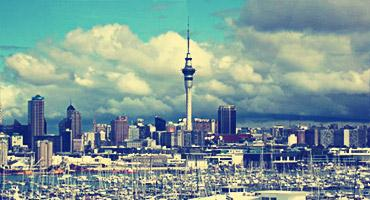 New Zealand city skyline.