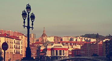 The city of Bilbao, Spain at dusk.