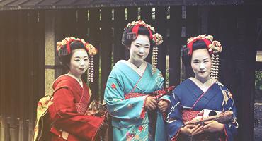 Geisha girls wearing kimono.