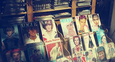 Magazines on a magazine rack