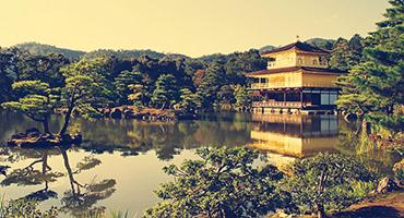 The Temple of the Golden Pavilion in Kyoto.