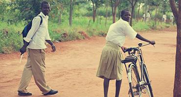 Ugandan students going to school