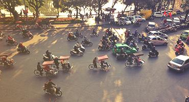 Various vehicles in a road in Hanoi.