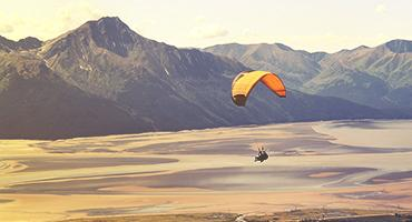Paragliding in the mountains.