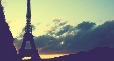The Eiffel Tower in Paris, France at sunset