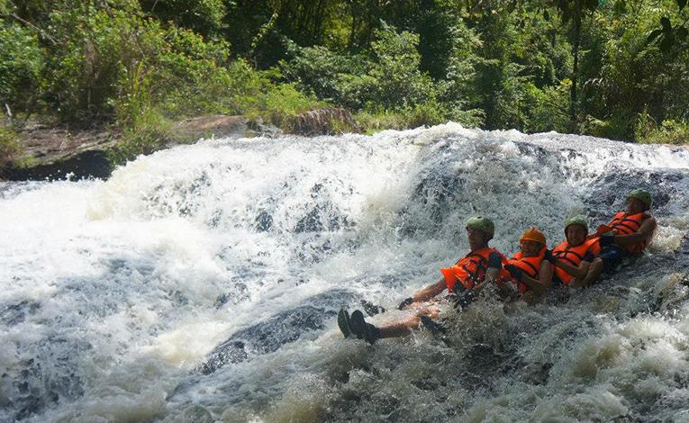 Abseiling down waterfalls in Vietnam